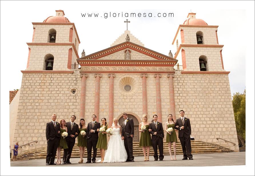 Bridal Party Santa Barbara Mission Wedding Catholic