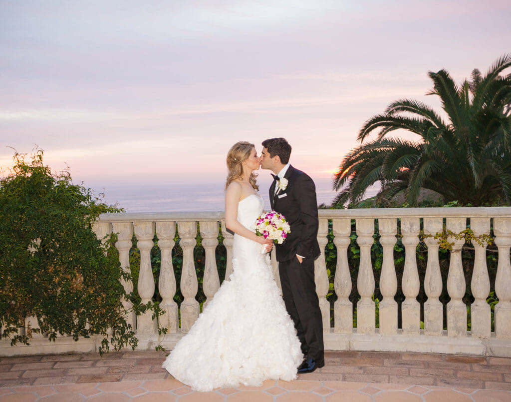 Bride, Groom, kiss, bel air bay club,