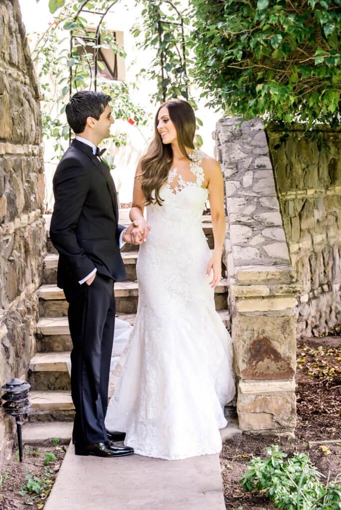 bride and groom walking..