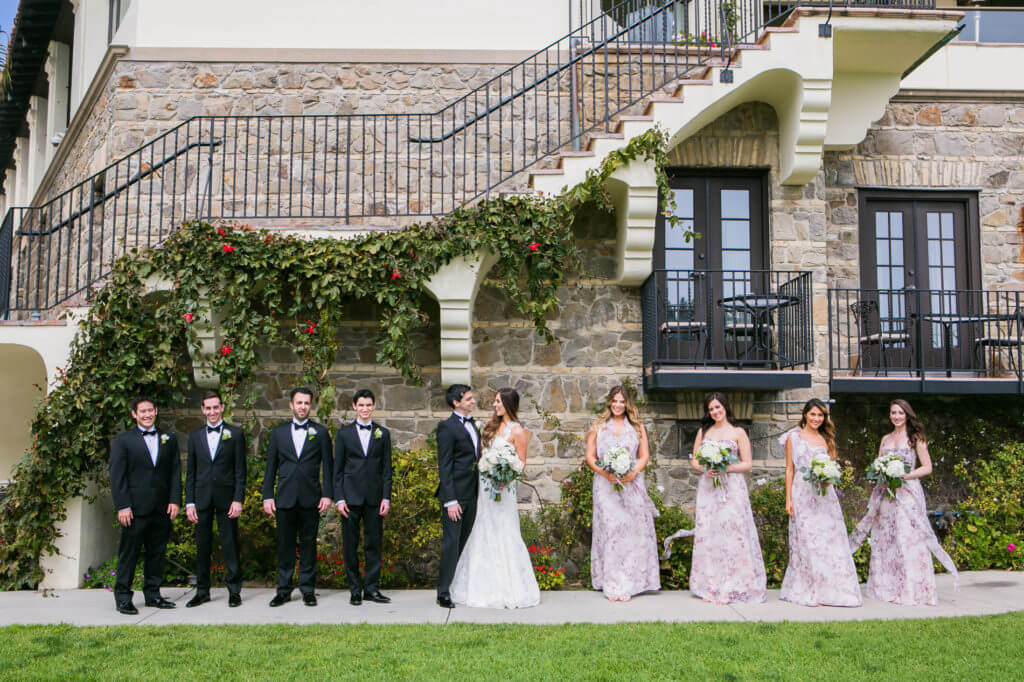 bridal party in front of bel air bay club