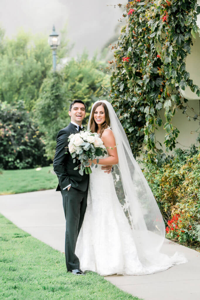 Portrait of bride and groom with FOG at Bel Air Bay club